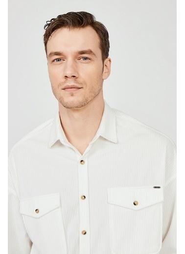 Avva Erkek  Kadife Klasik Yaka Oversize Gömlek A02Y2152 Beyaz